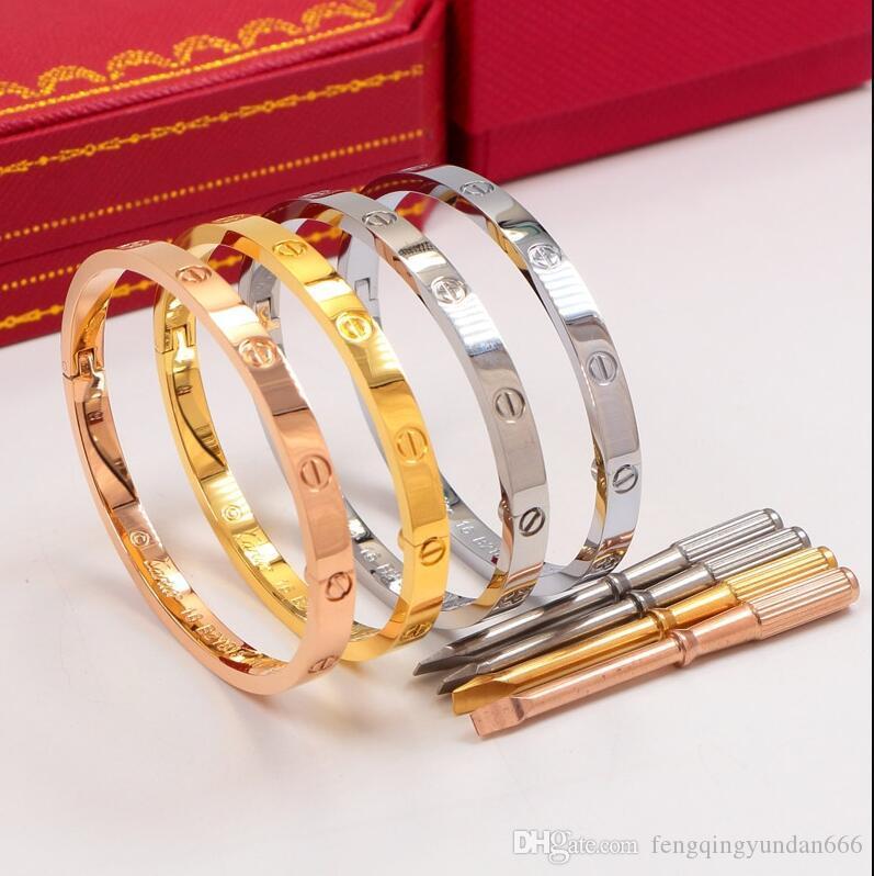 2020 Sonsuz Klasik seviyorOrijinal kutusu ile Cartier Çift aşk Bilezik 18K Rose Gold Titanyum Çelik Kilitli Vidalı Bilezik