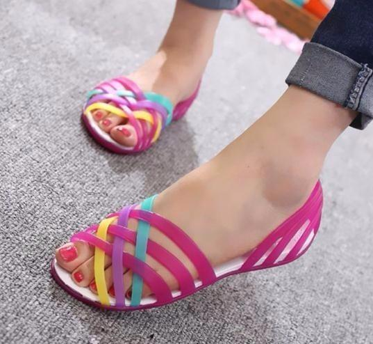 Donna Jelly Shoes Rianbow Sandali estivi Donna Flat Shoe Casual Ladies Slip On Donna Candy Color Toe Beach