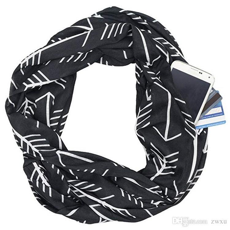 Popular style pocket scarf arrow pattern print zipper pocket neck novel scarf street style hip-hop fashion