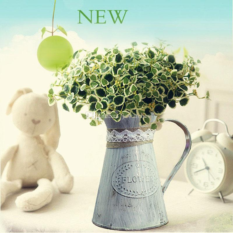 Vintage Kırsal Tarzı Demir Vazo Kolu Çiçek Bahçe Shabby Küvet Vazo Sepeti Pot Etli Bitkiler Kova Saksı Ev Dekor Için