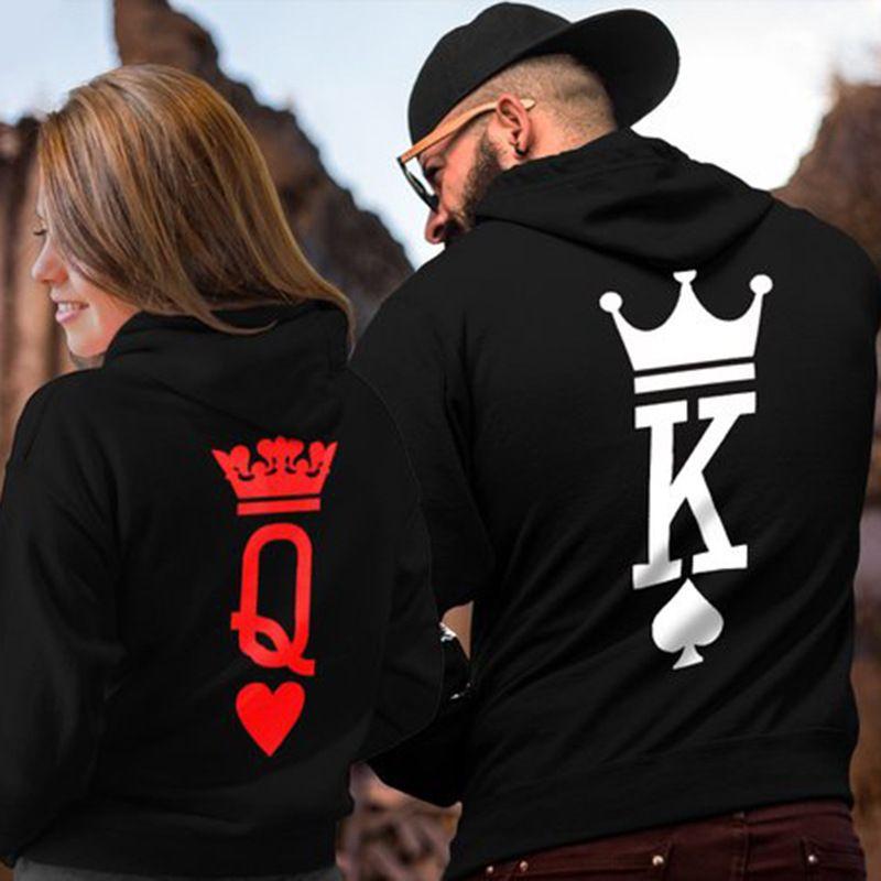 Sokak Hiphop Hoodies Eşleşen Giysi Çiftler Erkekler Kadınlar Kraliçe Kral Hoodies Gevşek Tasarımcı Kapüşonlu Yüksek Kaliteli Tişörtü