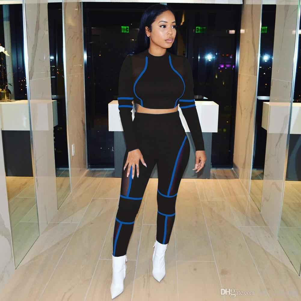 Sheer Mesh Patchwork Sexy 2 Piece Tracksuit Women Long Sleeve Crop Top And High Waist Pencil Pants See Through Two Piece Outfit