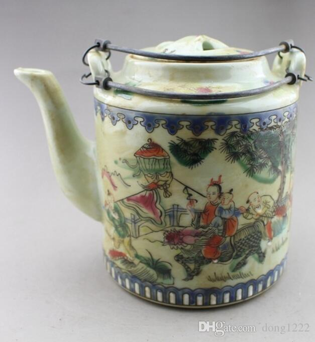 China old folk porcelain Painted Teapot Flagon
