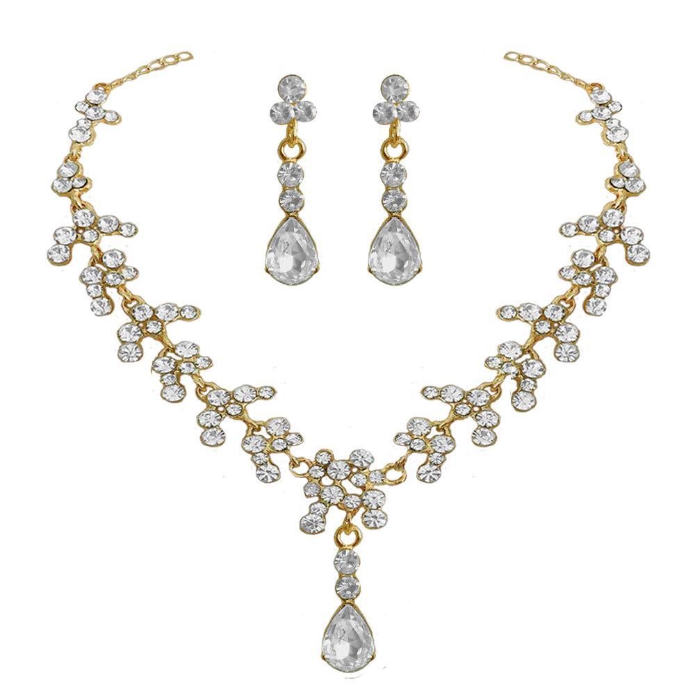 Collier ensembles d'oreilles en or plaqué cri blanc ensembles de bijoux de mariée pour les femmes élégantes bijoux de mariage mis aniversaire bijoux