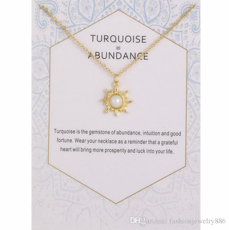 حار المرأة الذهب والفضة اللون قلادة لؤلؤة الشمس سحر قلادة قصيرة الترقوة سلسلة قلادة مع بطاقة هدية