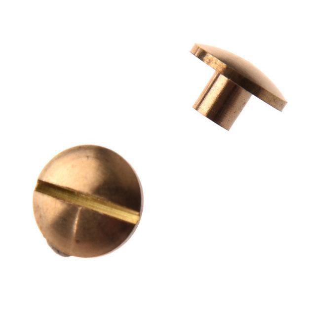 Hebillas ganchos 10pcs Arco Botón de latón macizo del perno de tornillo de uñas tornillo posterior del cuero del remache de la correa 4 / 6mm / 8mm /