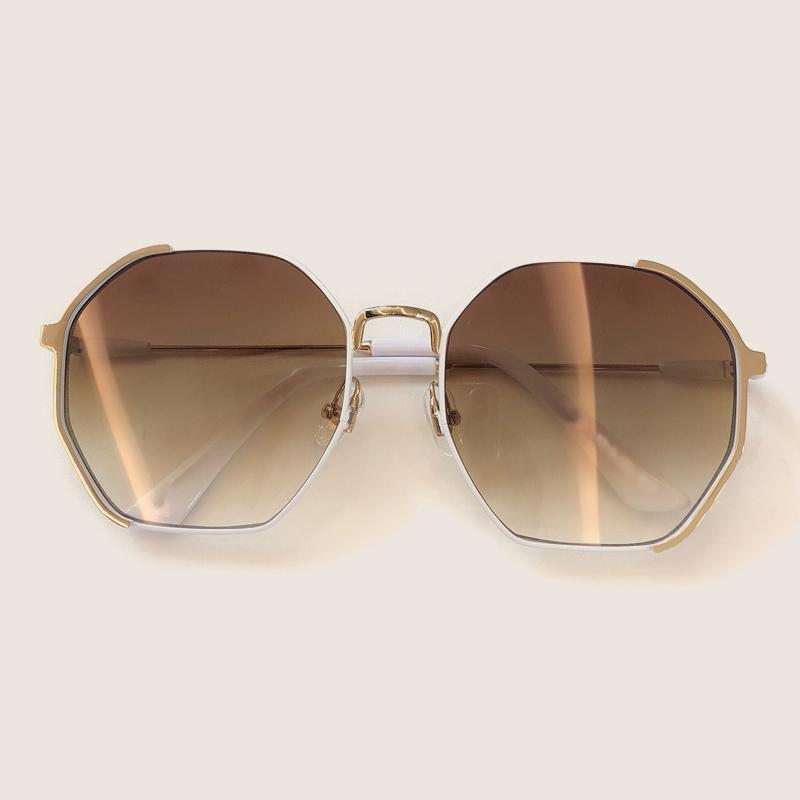 Lunettes de soleil miroir en métal Femmes / Hommes 2020 lunettes Lady Polygon Sun Lunettes Summer Style d'été Oculos de Sol Gafas 8058 Pvtok