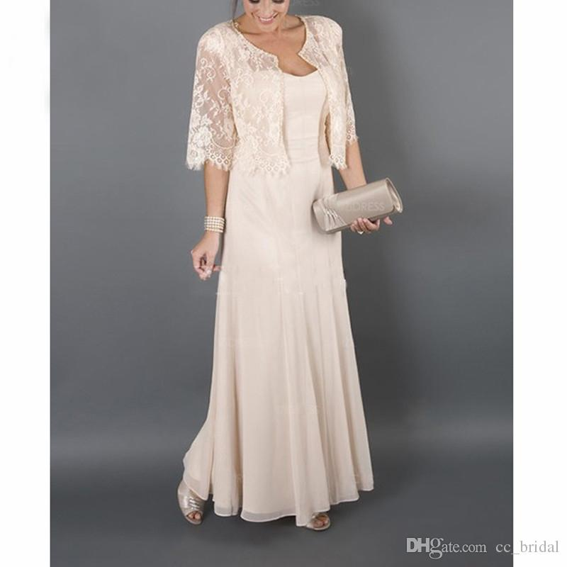 9296925040 Elegant Floor Length Mother Of The Bride Dresses With Jacket Chiffon Lace  Long Plus Size Mothers Wedding Guest Dress Cheap Mother Of Bride Dresses ...