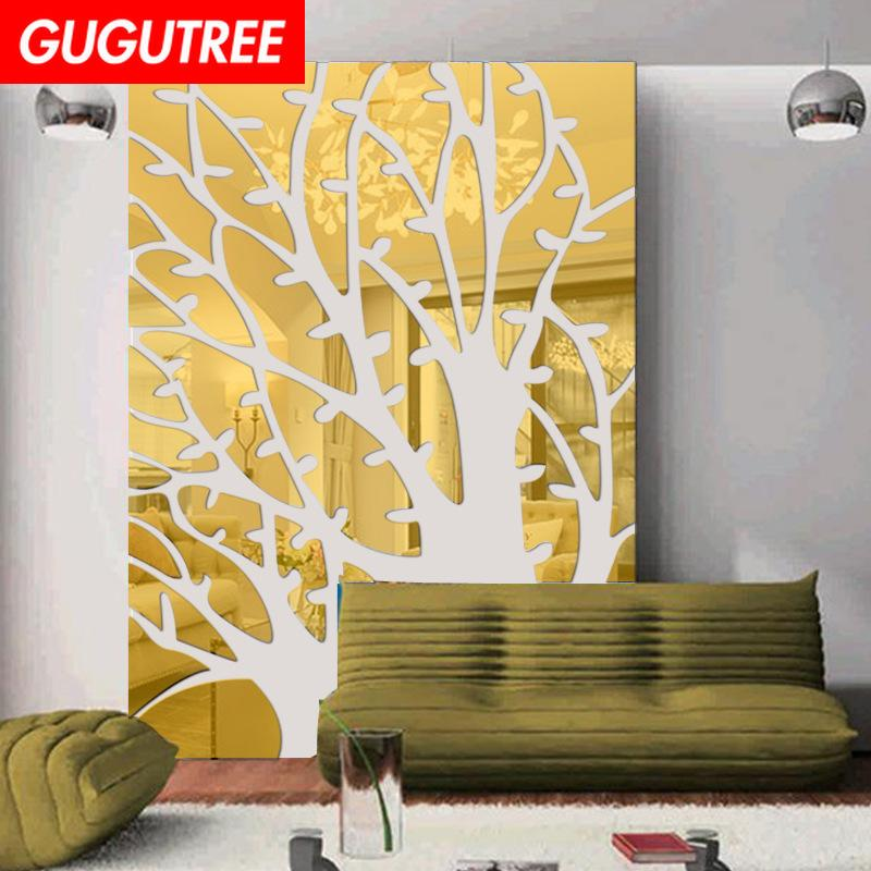 Decorate Home 3D trees leaf cartoon mirror art wall sticker decoration Decals mural painting Removable Decor Wallpaper G-232