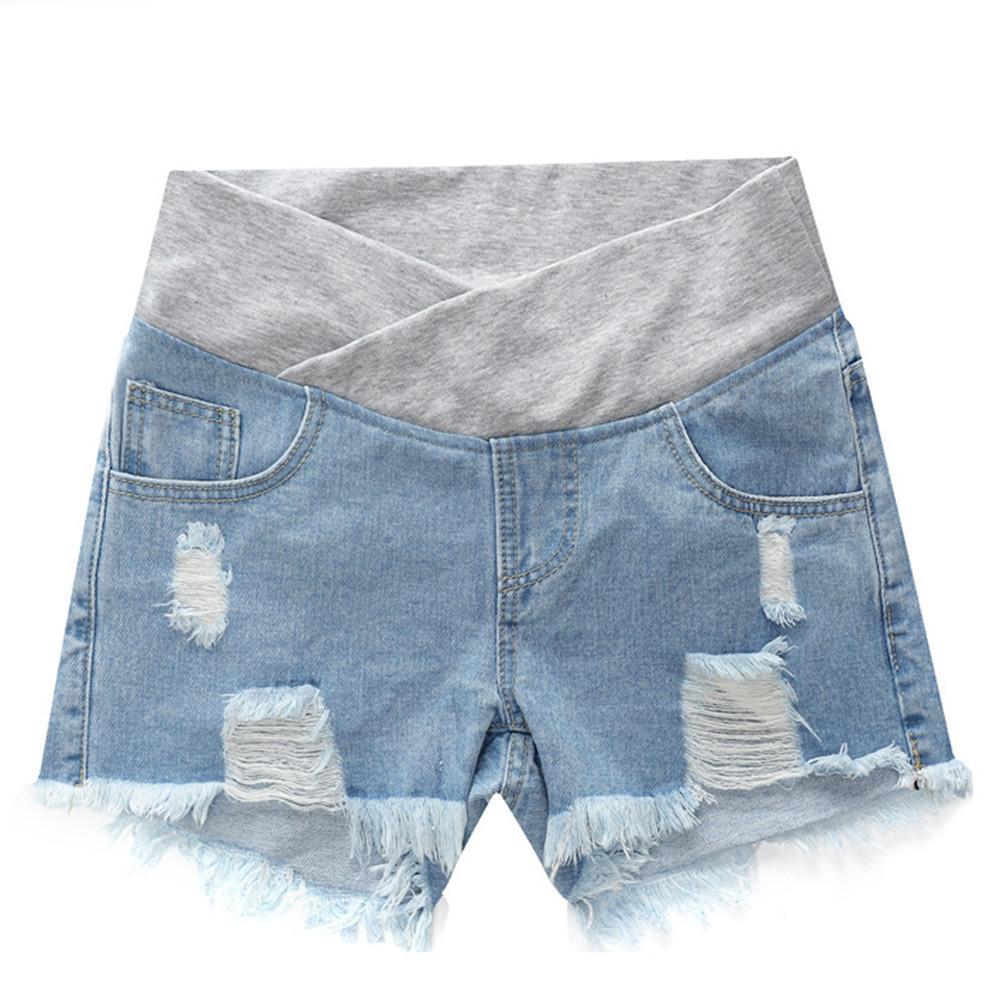 Беременные женщины шорты Летняя одежда с низким талией джинсовые шорты лето Сыпучие Брюки для беременных Одежда материнства