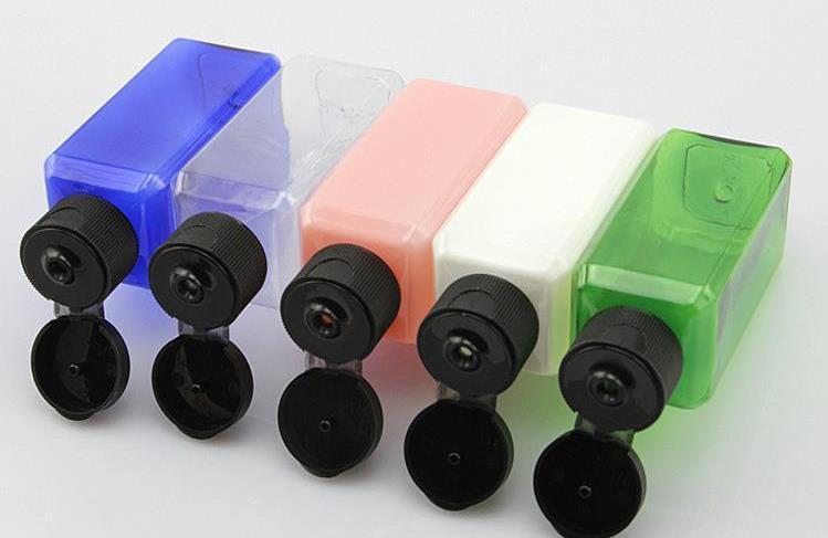 500pcs 50ml (1 2 / 3oz) assortiti colore che riempie di plastica PET bottiglia bottiglie campione quadrati con Easy Flip-Cap all'ingrosso SN33