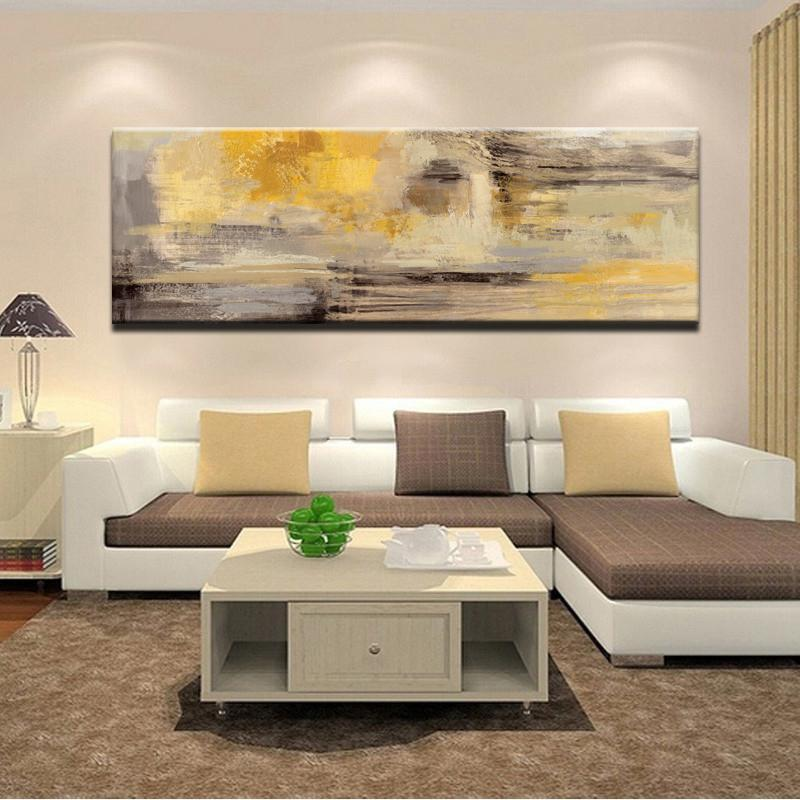 Posters and Prints Wall Art Canvas Painting Modern Abstract Golden Yellow Posters Wall Art Pictures for Living Room Home Decor