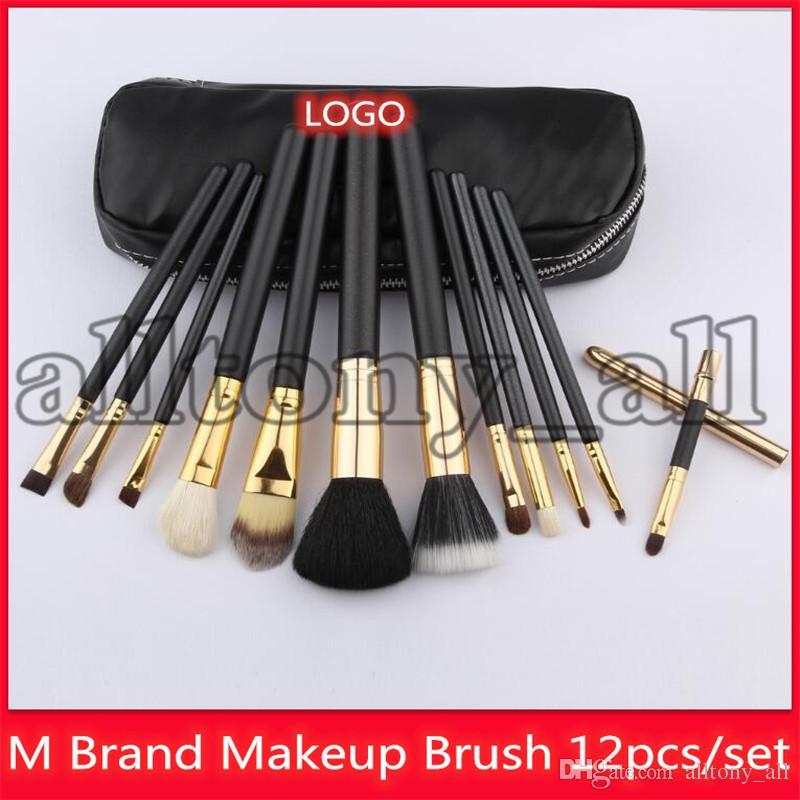 2019 M Marque Maquillage 12pcs brosse cosmétiques dans une boîte yeux brosse visage brosse chèvre Hairs haute qualité Set Brosses