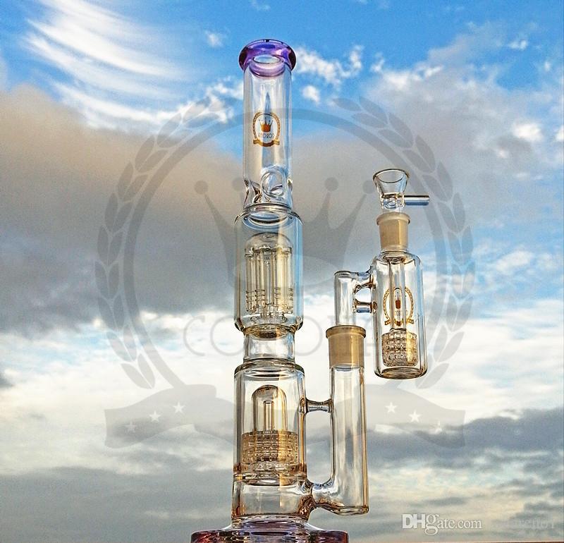 Renkli cam Bong 16 inç nargile yüksek başlık kalın su borusu inline perc dab petrol kulesi bongs ağır büyük balmumu pembe beher borular