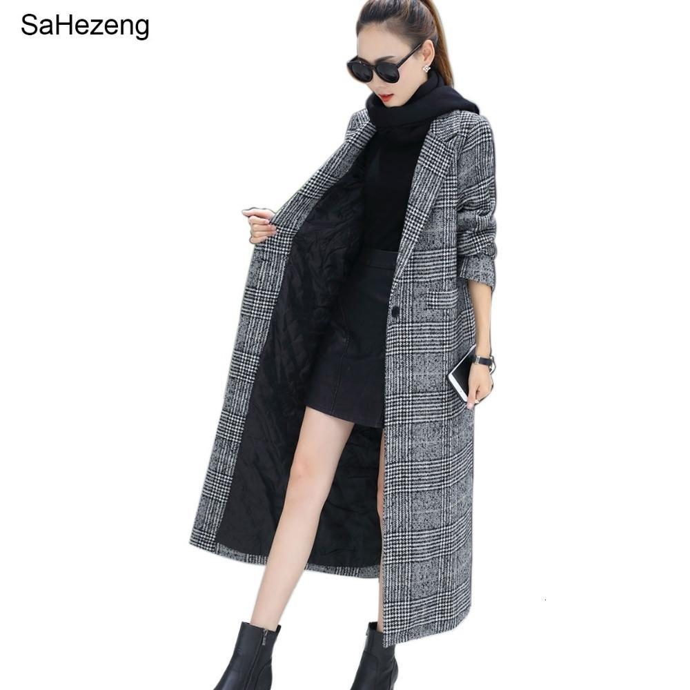 Donne Cappotto Plaid Donne lunga allentata monopetto di lana di inverno dei cappotti del cappotto soprabito di lana 2019 giacche di lana Trench WJ54 T191023