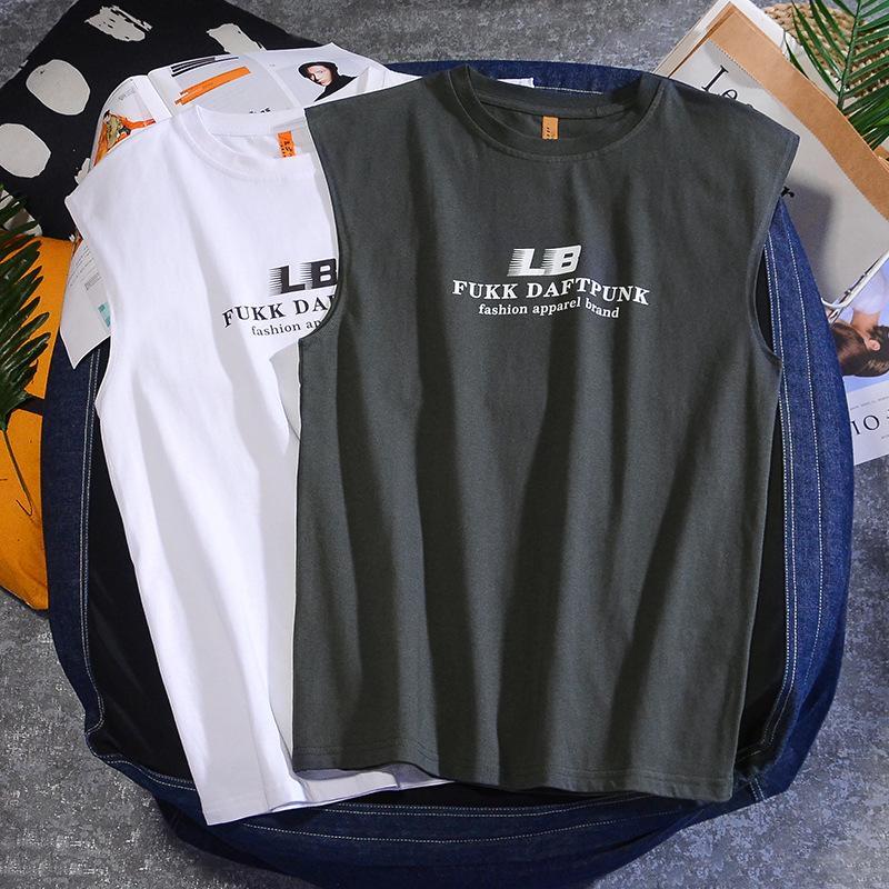 Sportswear homens de Vest Primavera-Verão Street Fashion Printed mangas T-shirt Loose-Fit puro algodão casual t-shirts Colete Su