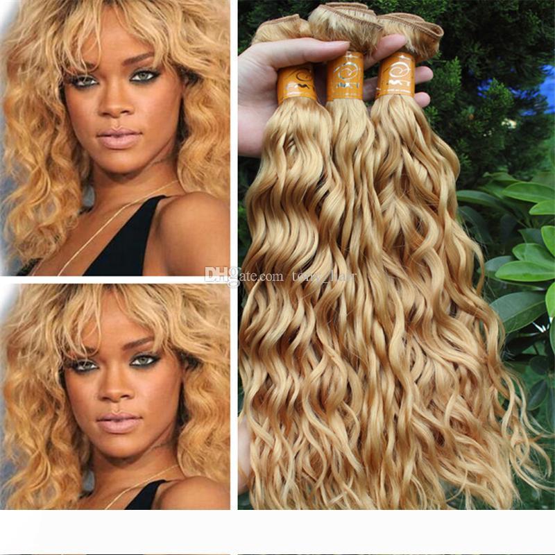 Mojado y ondulado Honey Blonde Humano 3 paquetes de pelo # 27 Strawberry Blonde armadura del agua del pelo indio de la Virgen de la onda de las tramas Extensiones de 3 piezas Lote