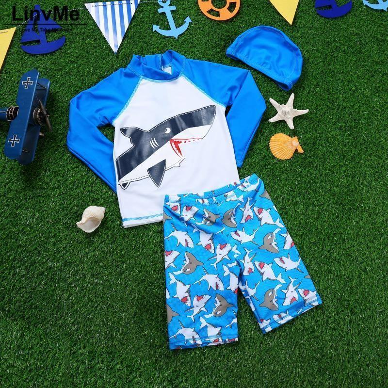 Funfeliz Boys Surf Swimwear 2018 Children Swimsuit With Swimming Cap Cartoon Shark Swimsuit For Kids 1-13t Boys Swim Trunk J190522