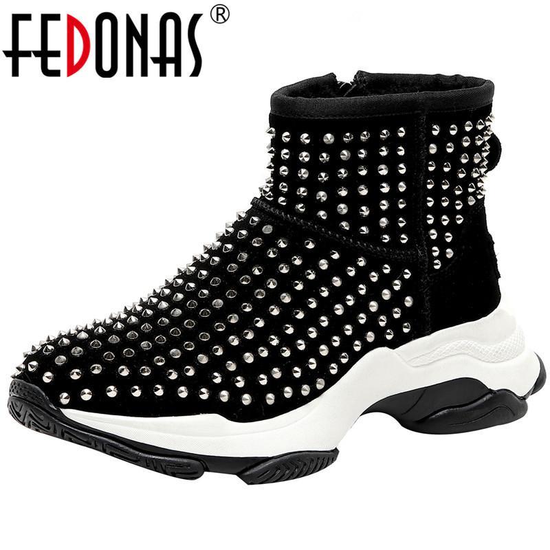 Fedonas Punk befestigt Schnee Short Boots Warm Wohnungen Plattform-beiläufige Schuh-Frauen-Basic-Qualität Kuhveloursleder Frauen Neueste Ankle Boots