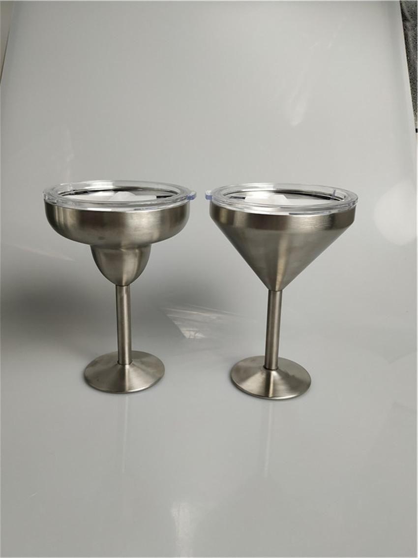 8 Unzen Edelstahl Margarita Glas Vacuum Goblet Double Wall Martini Cocktail Wein Tumbler Insulated-Becher mit Deckel A03