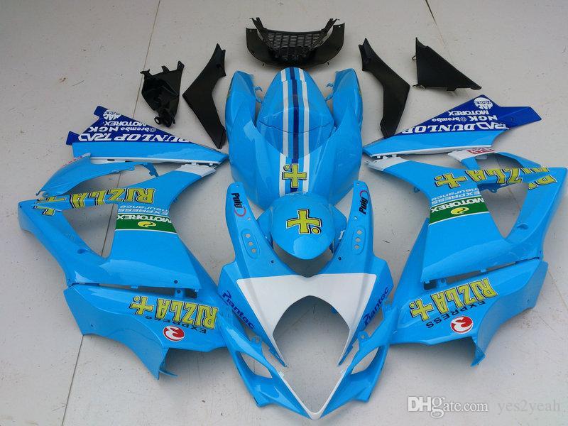 Kit carénage sur mesure pour SUZUKI GSXR1000 07 08 GSX-R1000 Carrosserie GSX R1000 K7 2007 2008 Set carénage RIZLA Bleu + cadeaux SS02
