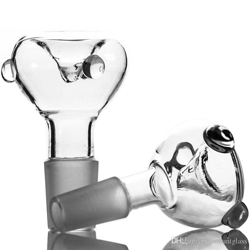Tubos de fumar atacado tigelas claras encaixam todos os bongos de vidro com pequenas contas 14.5 ou 18.8 tamanho da articulação masculina