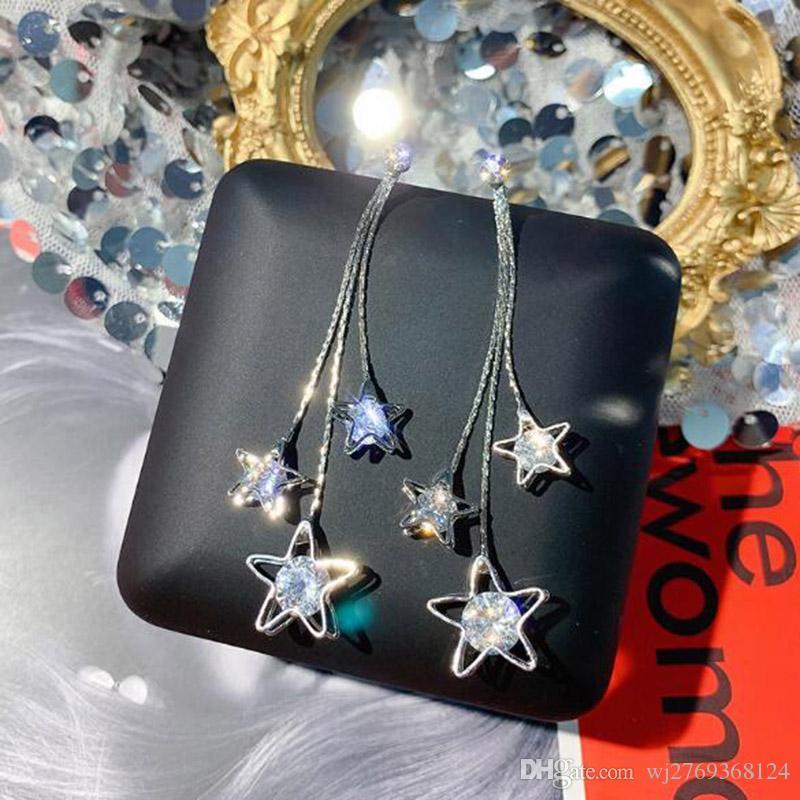 Jóias e Acessórios Coréia do Fashion Star Tassel Dangle Gota Brincos Bling Bling Cristal Eardrop 925 agulha de prata Brincos Partido Mulheres menina