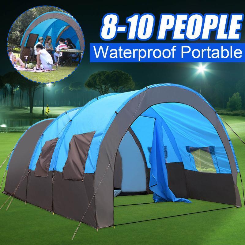 SGODDE 8-10 Pessoas Waterproof Viagem Camping Caminhadas Double-Layer 480x310x210cm tenda ao ar livre para Big Family 4 Seasons 2 cores