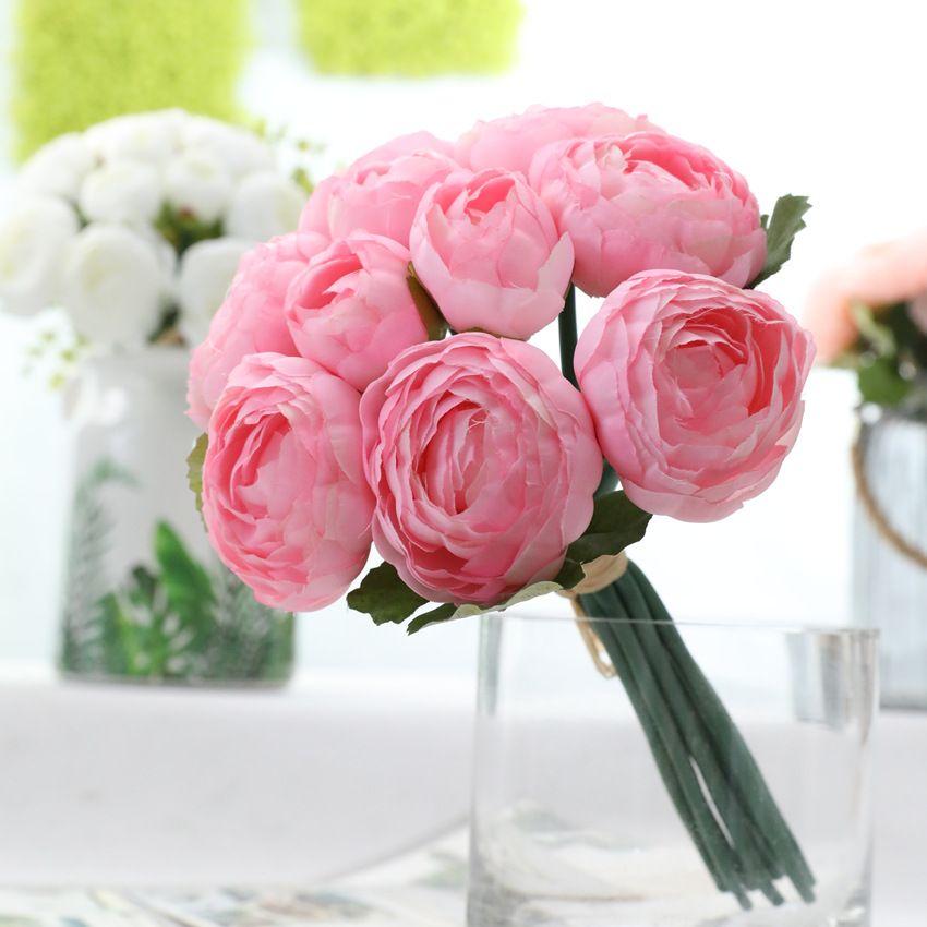10шт / букет розы пион Искусственные цветы ручной свадебный ручной Flores для домашнего стола Свадебные украшения рождественского декора