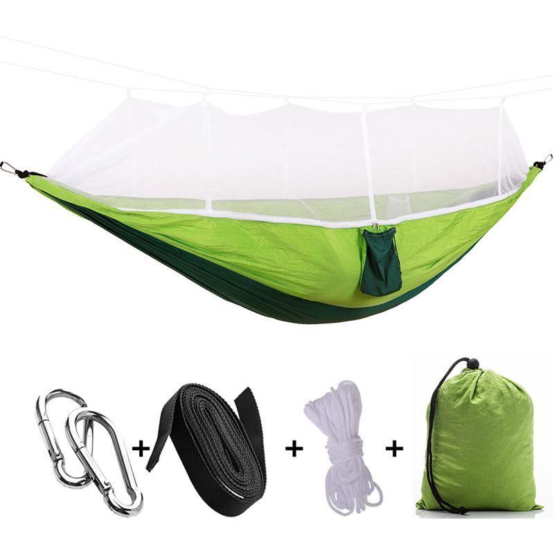 Portátiles de alta resistencia paracaídas Tela camping hamaca colgada cama con Mosquitera dormir Hamaca