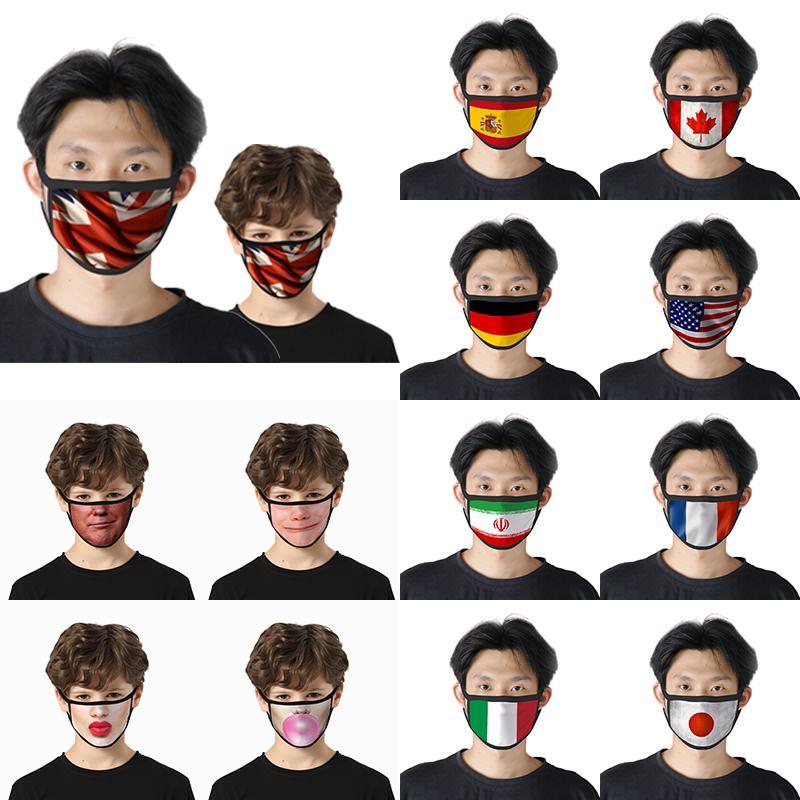 Adultos y niños impresos Máscaras 2 estilos de máscaras de la bandera nacional de la parodia de Máscaras faciales, a prueba de polvo y reutilizable XD23607