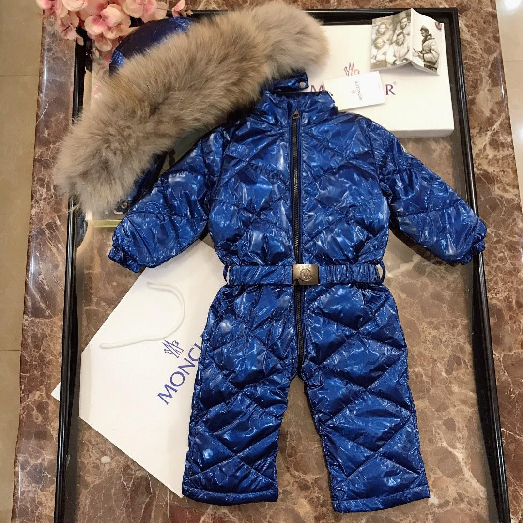 Baby down jacket kids designer clothing winter new baby jumpsuit solid color goose down filled hooded jumpsuit customs