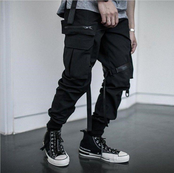 Compre Negro Joggers Pantalones Multi Bolsillo Hip Hip Streetwear Hombres De 2020 De La Cinta De Algodon Para Hombres Pantalones Cargo Pantalones Elasticos De La Cintura Nuevo A 15 21 Del Cinda02 Dhgate Com