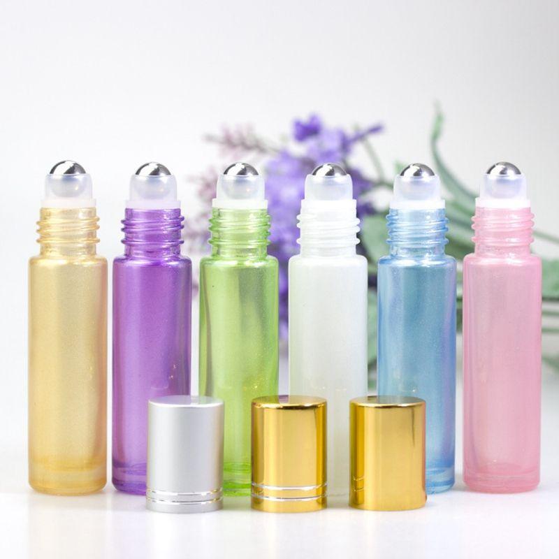 10 ملليلتر لؤلؤة الزجاج فارغة زجاجة عطر الكرة لفة على زجاجة للزيوت الأساسية مع الحبل HHA 265