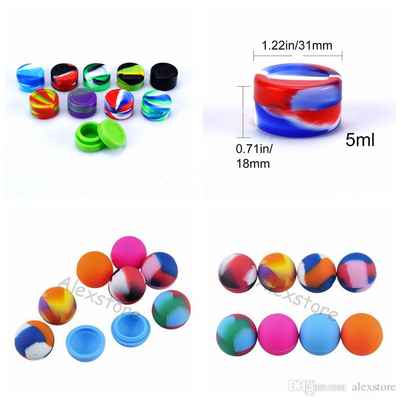Mix Style ball holder food grade silicone jars dab wax oil container silicon wax silicone tin dry herb 3ml 5ml box FDA DHL