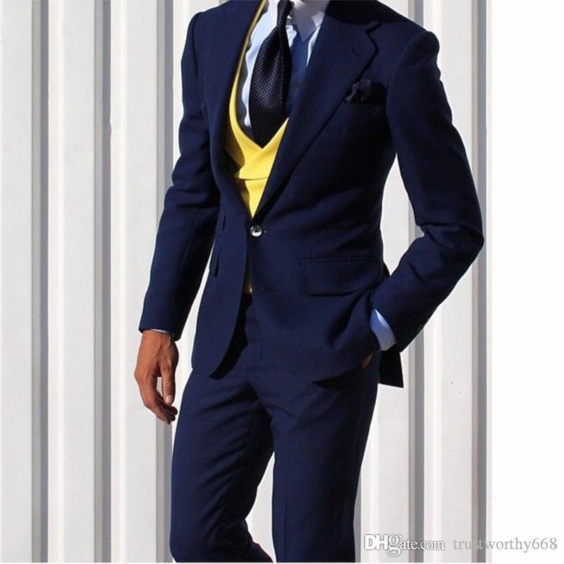 Populares con un solo botón padrinos de boda muesca solapa esmoquin novio hombres Trajes de boda / Prom mejor hombre Blazer (chaqueta + pantalones + chaleco + tie) 609
