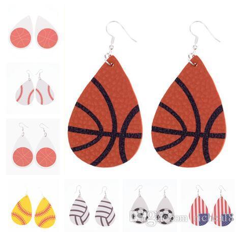 Diseño de moda Waterdrop Pendiente de cuero Béisbol Baloncesto Fútbol Voleibol de voleibol de lágrima Impresión Cuelga Pendiente para mujer Joyería