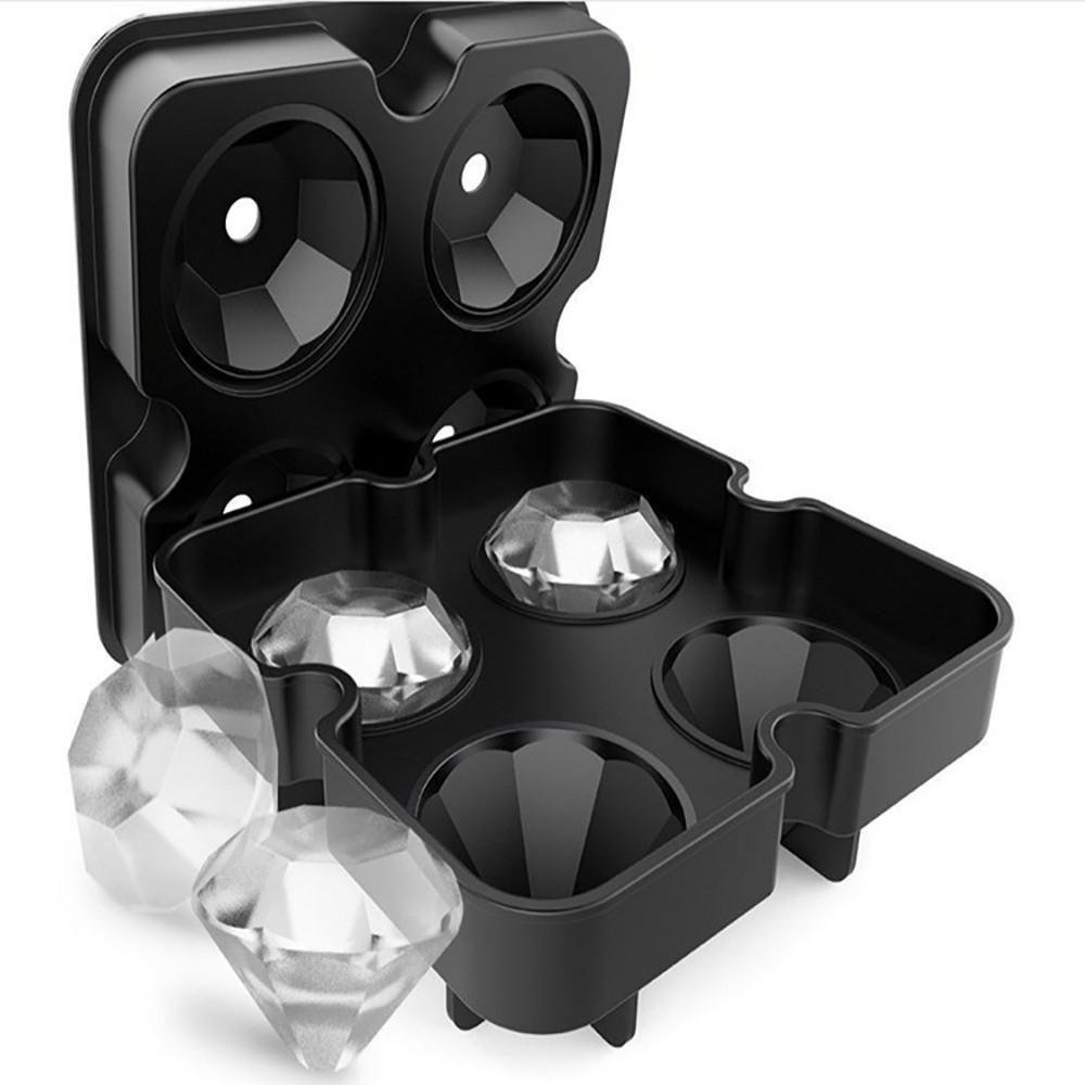 4 Forme Diamond Cell 3D Ice Cube Maker moule Bar Party silicone Ice Jelly Plateau chocolat Pudding Gel moule Outils de cuisine # 007