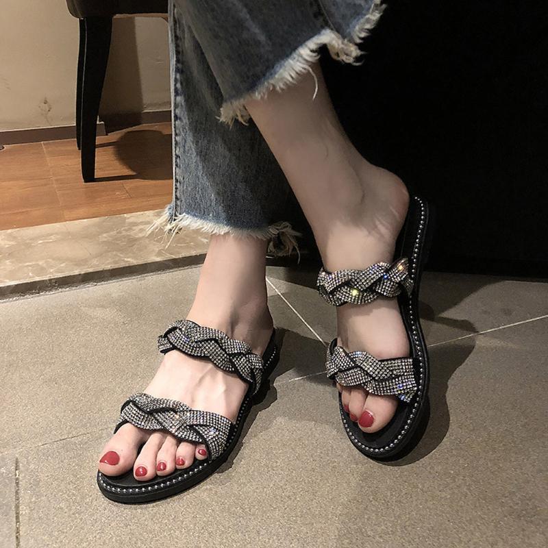 Горный хрусталь Кристалл вьетнамки пляж плоские Женские туфли новое поступление женская летняя обувь нескользящие дышащие квартиры вьетнамки
