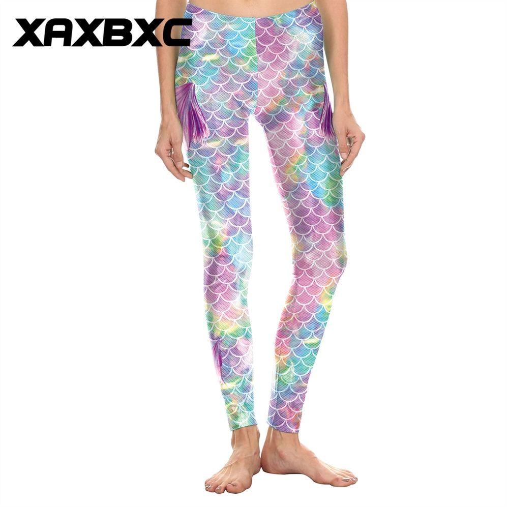 2018 D1819 Rainbow Mermaid Fins Scale 3D Print Push Up Slim Tights Fitness Women Jogging GYM Yoga Pants Femme Sport Leggings #799389