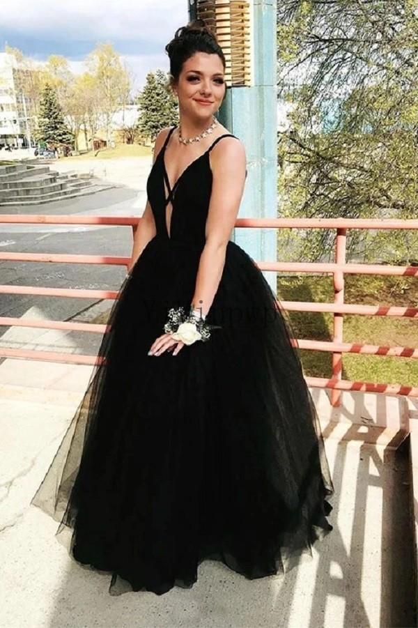Prom noir robes longues spaghetti lacent Retour Longueur étage Une ligne officielle Femmes Party Robes de soirée Robes formales para mujer