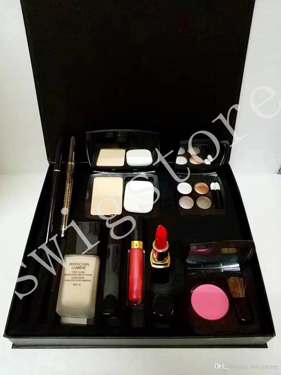 2018 9pcs cosmetics set concealer eyebrow pencil blush lipstick eyeliner pencil high quality makeup kit big box with free gift box