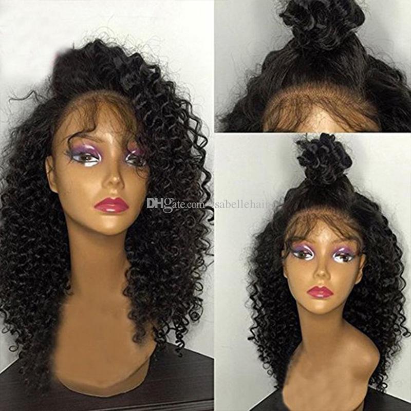 9A Pre Plucked Kinky Curly Lace Front Perruques de cheveux humains Pour Les Femmes Noires Brésilienne Vierge Full Lace Perruque Avec Bébé cheveux