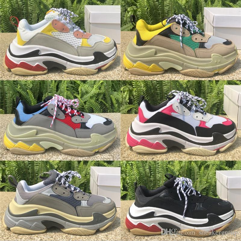 Тройной Платформа кроссовки для мужчин Женщины Chaussures Париж 17FW Тройной Черный Кремовый Желтый Красный Повседневная обувь партии обувь 36-45