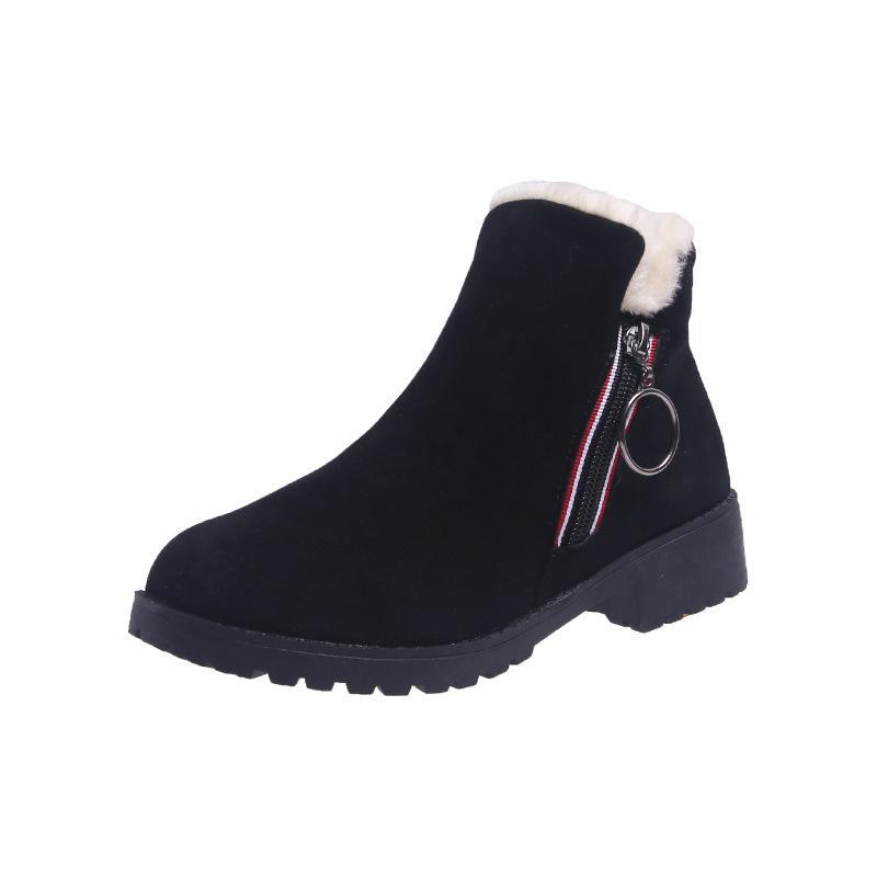 الأزياء سنو الأحذية الإناث 2019 الشتاء بالإضافة إلى المخملية الجديدة الدافئة الأحذية قصيرة انكلترا الرياح جولة رئيس الجانب سستة عارضة الأحذية القطن المد
