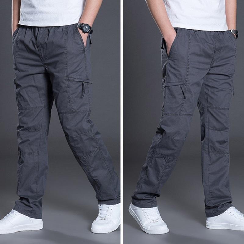Été, Automne, Mode pour hommes Pantalons simple longues en coton Pantalon droit Joggers Homme Taille Plus 5XL 6XL Pantalon plat pour hommes Vêtements CX200615