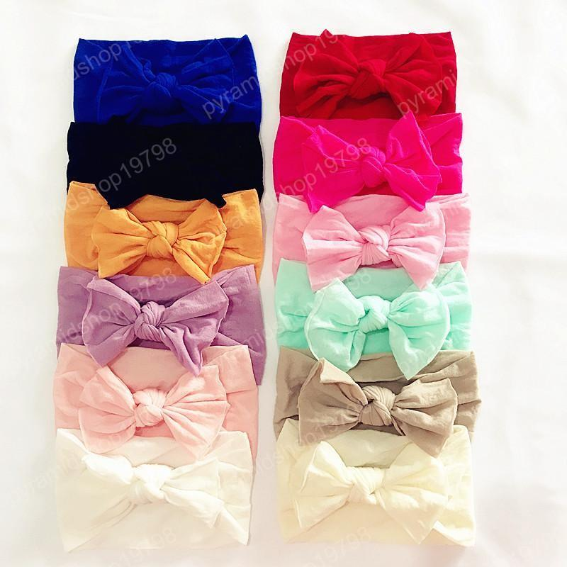 12 colors Baby Girls big Bow Headbands Infant Solid Soft Nylon Elastic hair band cotton kids Hair Accessories