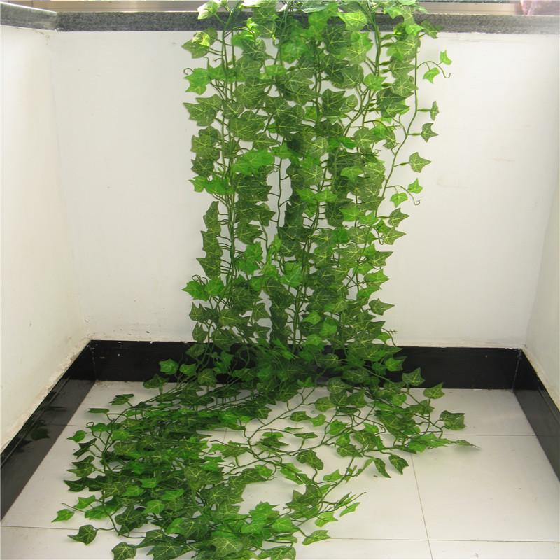 Folha 100pcs 1 Plantas pedaço 2.4M Home Decor Artificial Ivy Folha Garland Falso Vinha Folhagem Flores Creeper Verde Grinalda da hera
