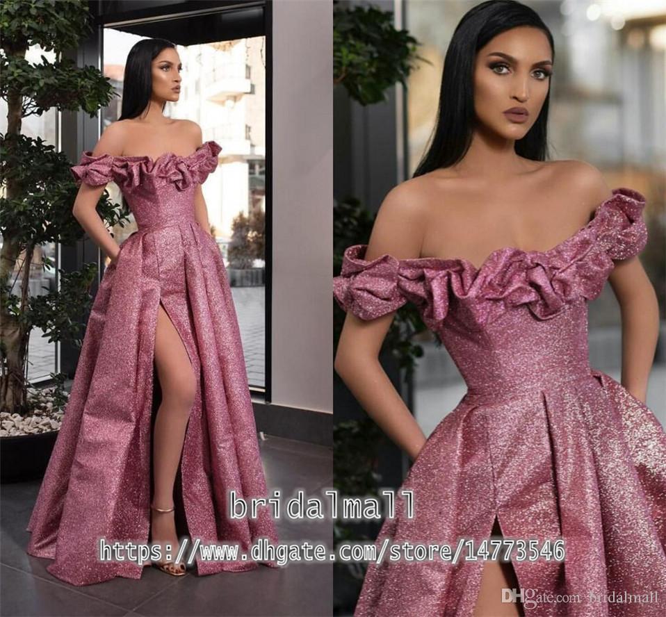 2020 nouveaux élégant fendus Rose rouge pailleté robes de soirée de l'épaule Une ligne longue robe de bal de balayage train pas cher Robes de soirée formelle
