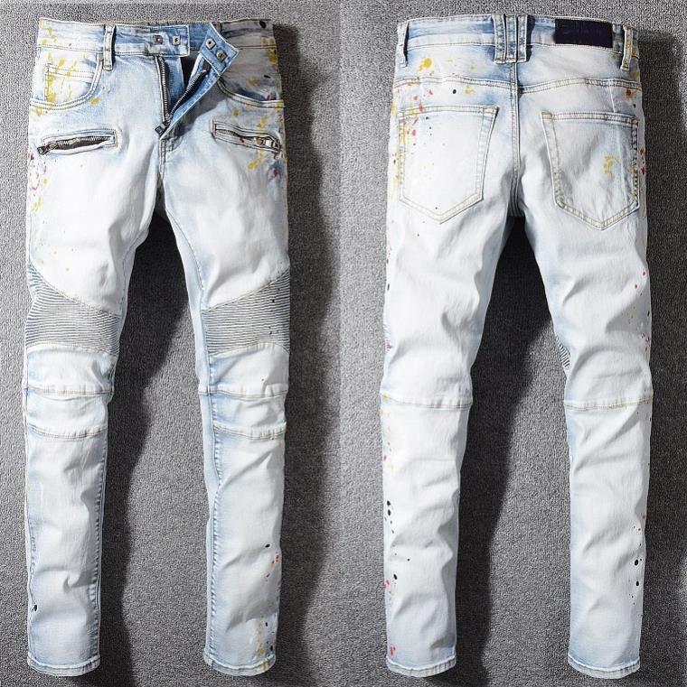 Tide pantalons modèles d'explosion des hommes designer marque jeans homme sauvage de la mode hommes boutique de luxe en plein air jeans étudiants de qualité